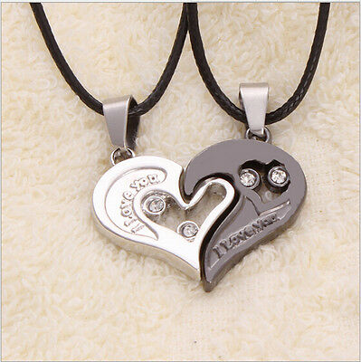 Men Women Couple Necklace I Love You Heart Pendant Stainless Steel Lover's Gift