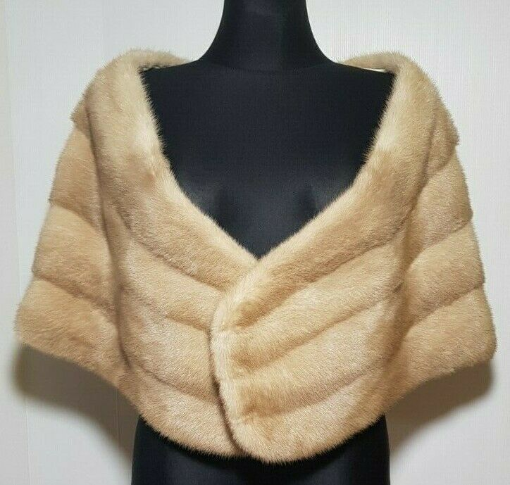 NEW FILIMEGAS FURS WOMEN'S MINK FUR WRAP SANDY COLOR SOFT LIGHT WEIGHTED