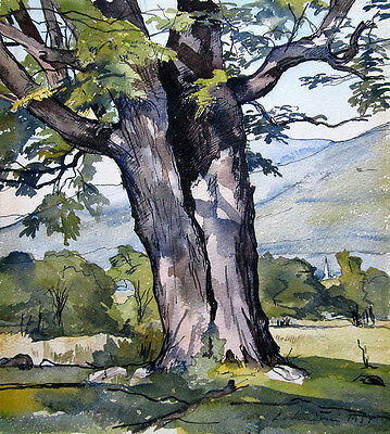 """LUIGI LUCIONI Signed 1954 Original Watercolor - """"The Enduring Maple"""""""