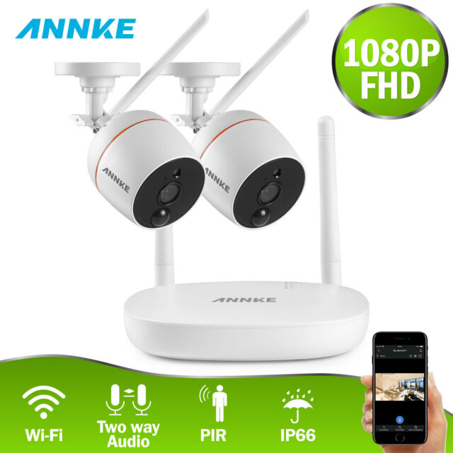 ANNKE Wireless 1080p Mini 4ch NVR 2mp WiFi Security IP Camera System 2-way  Audio