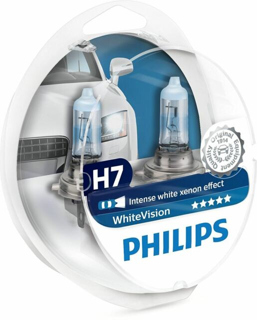 2x PHILIPS WHITEVISION H7 12V PX26d blanco intenso efecto xenón +W5W 12972 WHVSM