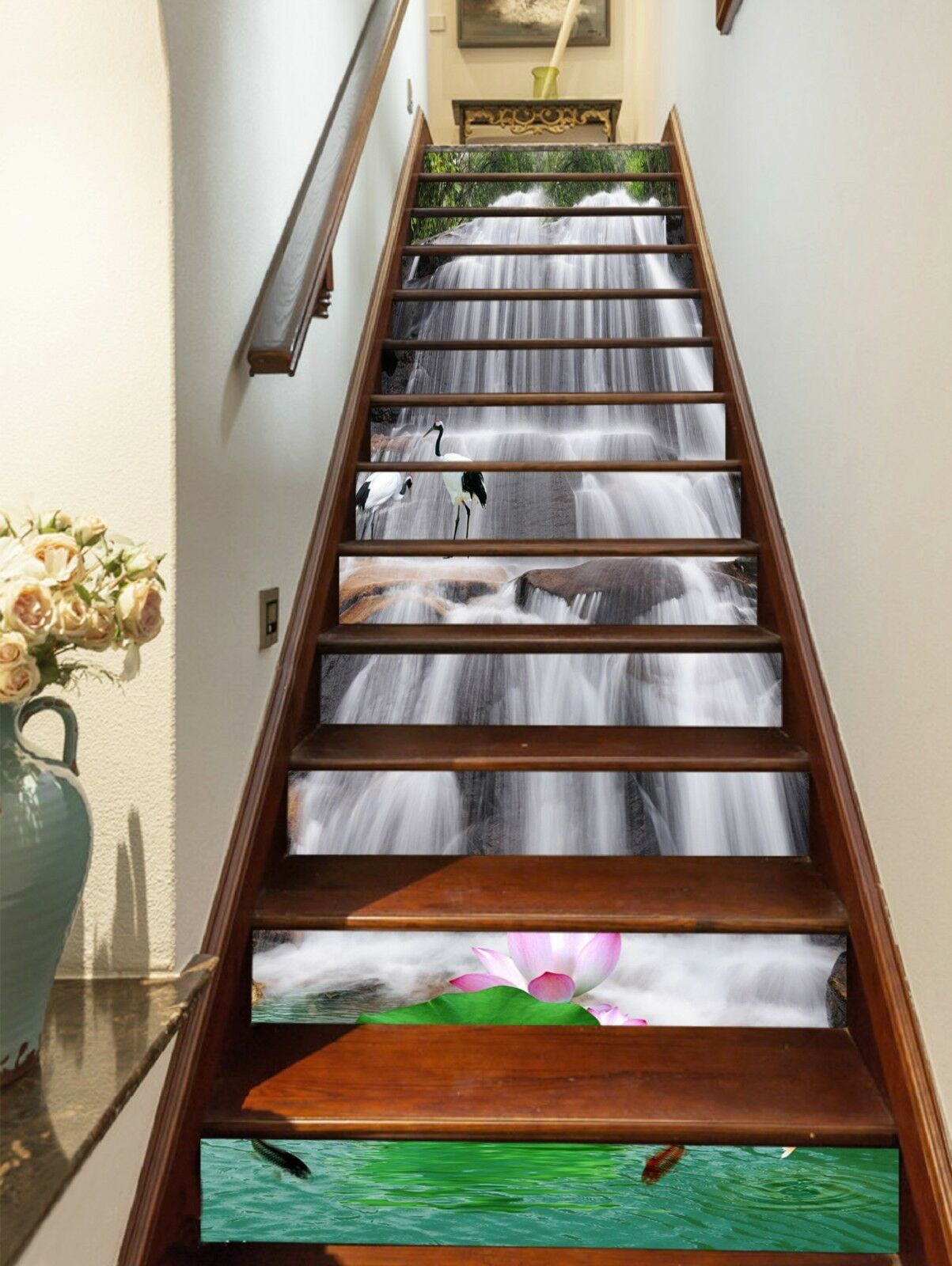 3D Pond water 4 Stair Risers Decoration Photo Mural Vinyl Decal Wallpaper UK