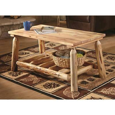 Rustic Natural Pine Log Coffee Table Premium Lacquer Finish Solid Wood Furniture 885344705145 Ebay