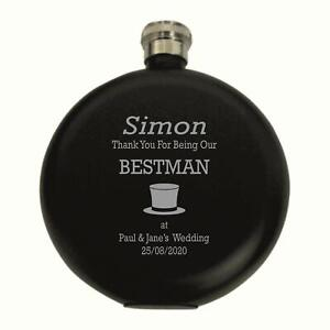Personalised  Bestman Top Hat  5oz Round Blue Hip Flask In A Paper Box HF601