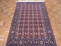 4 X 6 Hand Knotted Red Fine Bijar Design Oriental Rug With Silk G2203