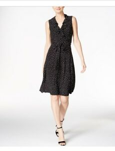 Tommy-Hilfiger-NEW-Black-Womens-Size-14-Polka-Dot-Sash-Belt-Shirt-Dress-99