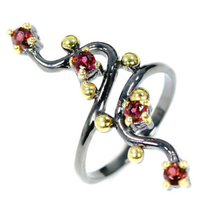 Christmas-Jewelry-Gift-Natural-Garnet-925-Sterling-Silver-Gemstone-Ring-RVS309