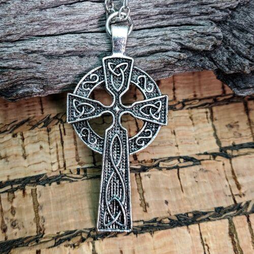 Couleur Argent Antique Croix Celtique Collier