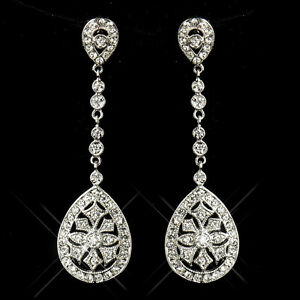 Antique Sliver CZ Dangle Bridal/Bridesmaid Earrings, Wedding Jewelry