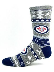 best deals on 9f5d7 d1e86 Image is loading Winnipeg-Jets-Adult-Ugly-Christmas-Socks-Crew