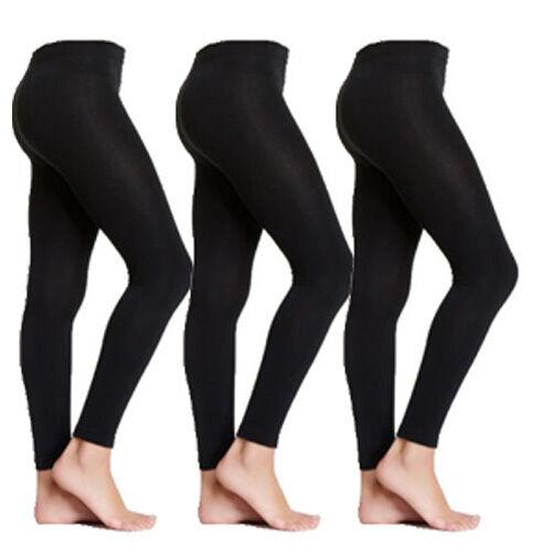 3 Pairs S//M Small Medium Black Fleece Lined Women/'s Womens Footless Tights