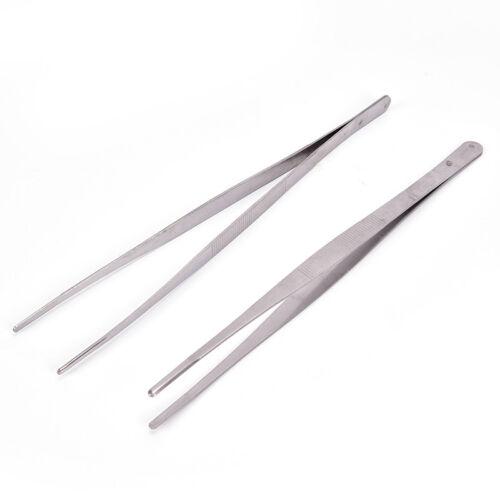 12/'/' 30cm Silver Stainless Steel Long Food Tongs Straight Tweezer Kitchen TooLJ7