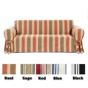 Twill-Cotton-Stripe-Sofa-or-Loveseat-or-Chair-Slip-cover-in-5-COLORS