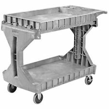 Procart 2 Shelf Flip Top Plastic Service Utility Cart With Handle And Wheels