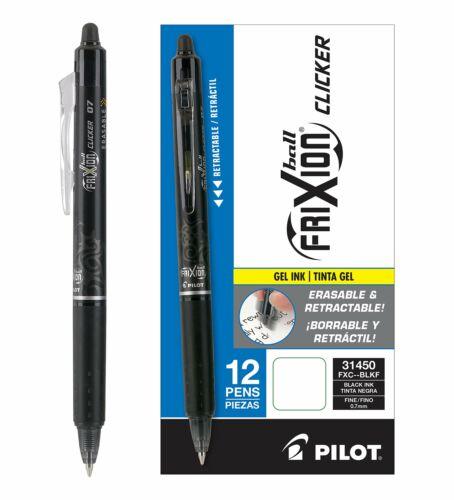 Pilot FriXion Clicker Retractable Erasable Gel Pens Fine Point .7 Black Ink