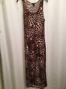 d48207dc1a87 Image is loading H-amp-M-Leopard-Print-Long-Dress-Size-