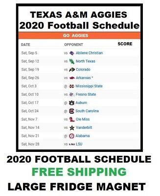 136 Texas A M Aggies Ncaa 2020 Football Schedule Fridge Magnet Large Ebay