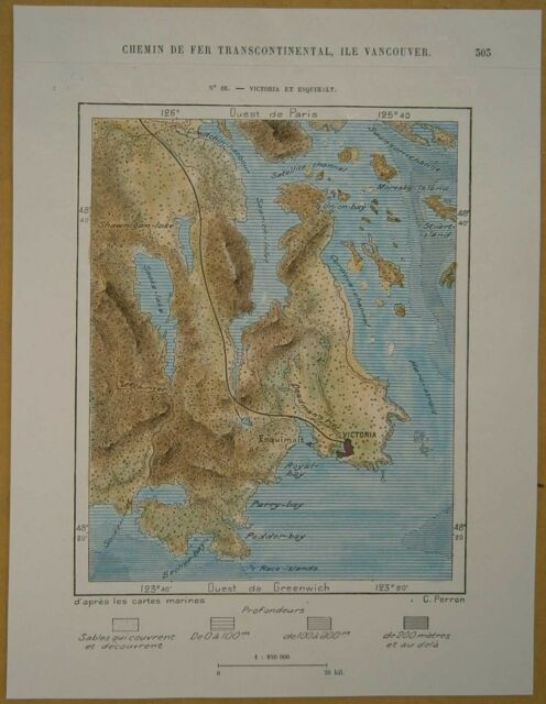 1890 Perron map VICTORIA & ESQUIMALT, VANCOUVER ISLAND, BRITISH COLUMBIA, CANADA