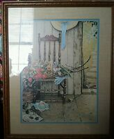 1969 Lithograph from Norman Rockwell Estate Spring Flowers