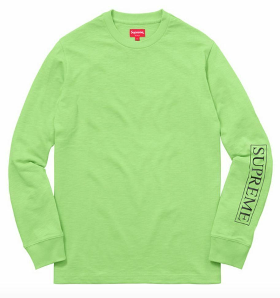 Supreme SS16 Roma L S Top TEE SHIRT BOX LOGO Lime Green Motion Nas TV CARDS CDG