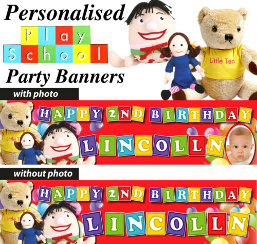 Details about  /PERSONALISED PLAY SCHOOL BIRTHDAY PARTY BANNER DECORATIONS