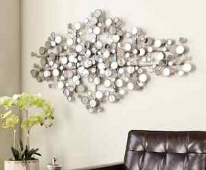 Image Is Loading Round Mirror Wall Art Metal Modern Silver Circle