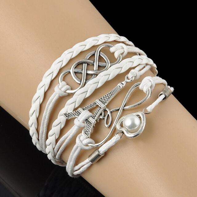 Vintage Love Heart Tower Friendship Silver Leather Charm Infinity Bracelet Gift