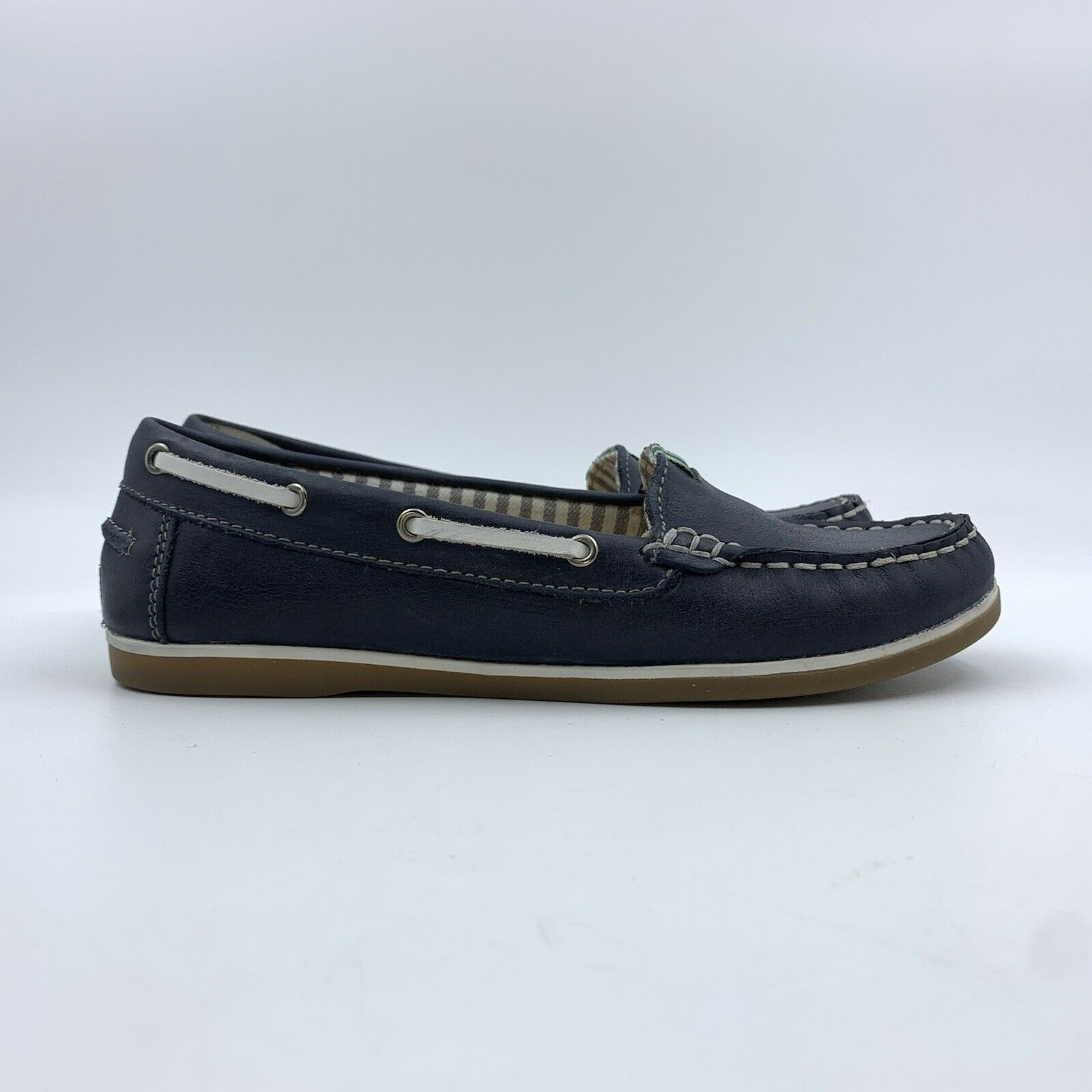 Naturalizer Womens Shoes SIZE 4 M Blue Leather Loafers Flats Boat Slip Ons