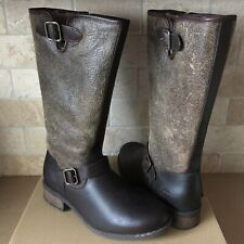 UGG VINSON STOUT LEATHER TALL RIDING BOOT REAR ZIPPER BOOTS