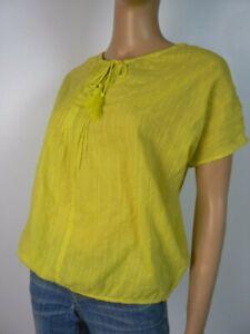 45-Ann-Taylor-Loft-Neon-Yellow-Eyelet-Stripe-Drawstring-Box-Top-Blouse-NWT-A726