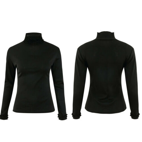 Womens Ruffle High Neck T-Shirt Ladies Long Sleeve Slim Fit Plain Tops Basic Tee
