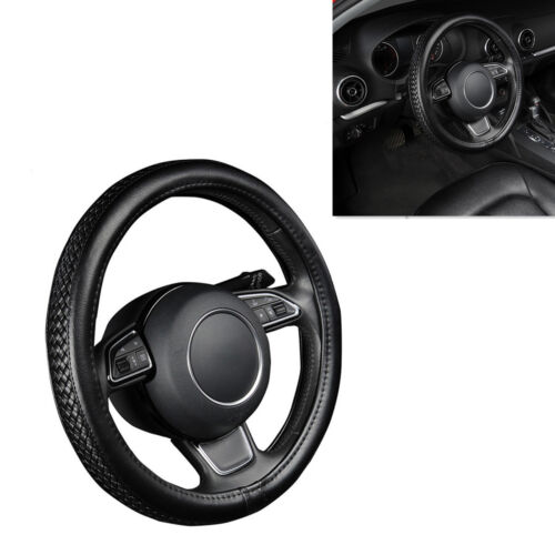 38CM Auto Car Steering Wheel Cover Protector Black PU Leather Anti-slip Braiding