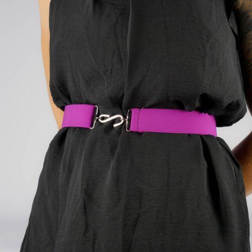 Cintura Elastica Rosa Bacca Fucsia Da Donna Elasticizzato Gancio Serpente Cintura Unisex Uk