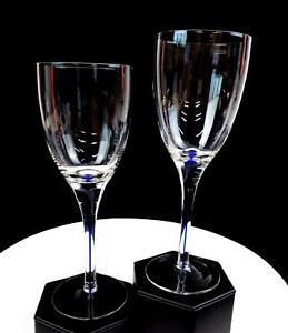 """BOHEMIAN CZECH CRYSTAL COBALT BLUE BUBBLE STEM 2 PIECE 8.25"""" WINE GLASSES"""