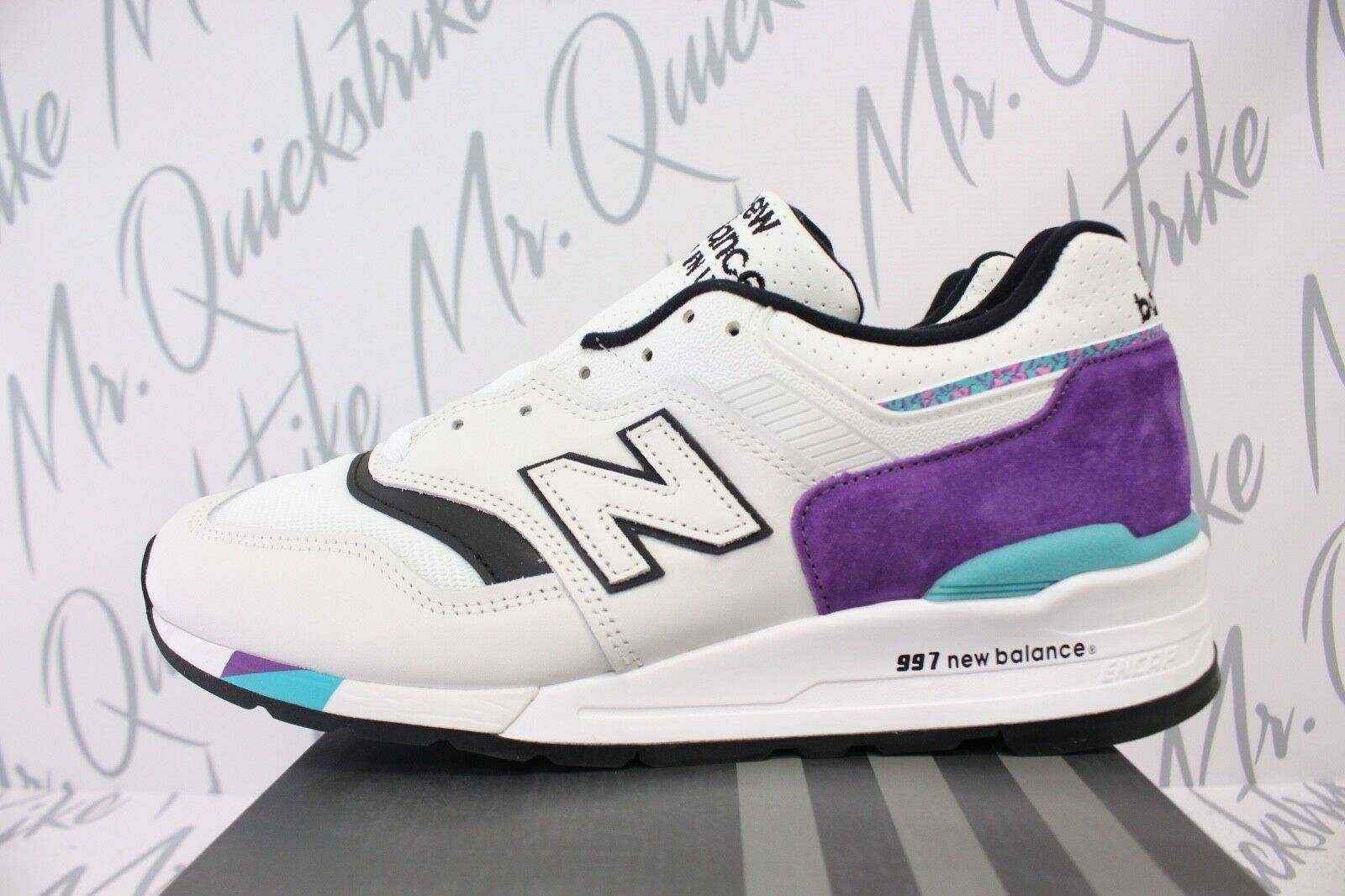 NEW BALANCE 997 MADE IN THE USA SZ 11.5 WHITE PURPLE BLACK TEAL M997WEA
