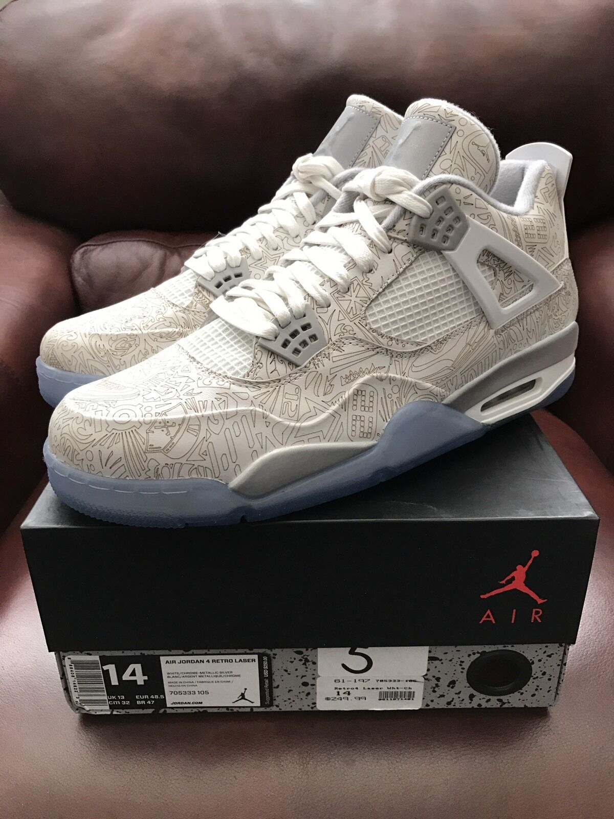 Nike Air Jordan 4 Retro Laser White/Chrome-Blue 705333-105 New/DS Sz. 14