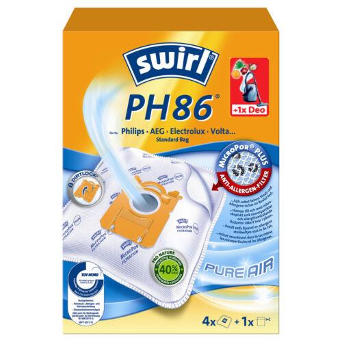 4 Swirl Staubsaugerbeutel PH86 passend für Philips FC 8720 8728 Performer Expert
