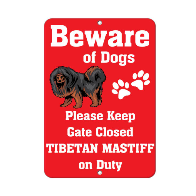 Beware Of Dog Sign Warning  12 x 8 Inch Metal Decor Funny Animal Sign.
