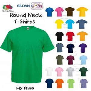 Kids-Plain-T-Shirt-Boys-Girls-TShirt-Age-1-2-3-4-5-6-7-8-9-10-11-12-13-14-15