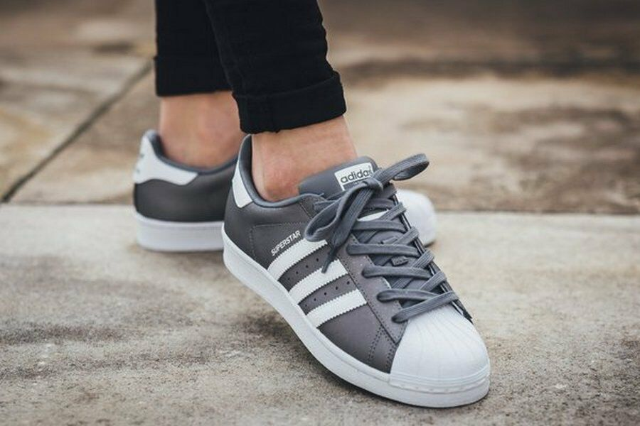 Adidas Originals Superstar Women's Gray Athletic Sneakers White Shoes US 8.5