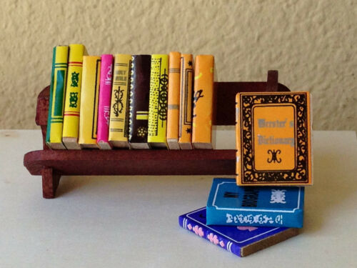 Miniature Dollhouse FAIRY GARDEN Accessories ~ Wood Book Rack with Books ~ NEW
