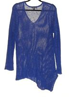 Eileen Fisher Sz Large Blue Asymetric Loose Thin Knit Linen Blend Sweater Tunic