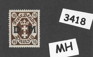 #3418  Danzig Germany MH Sc02  PF10 1921 Overprinted Official Free State Poland