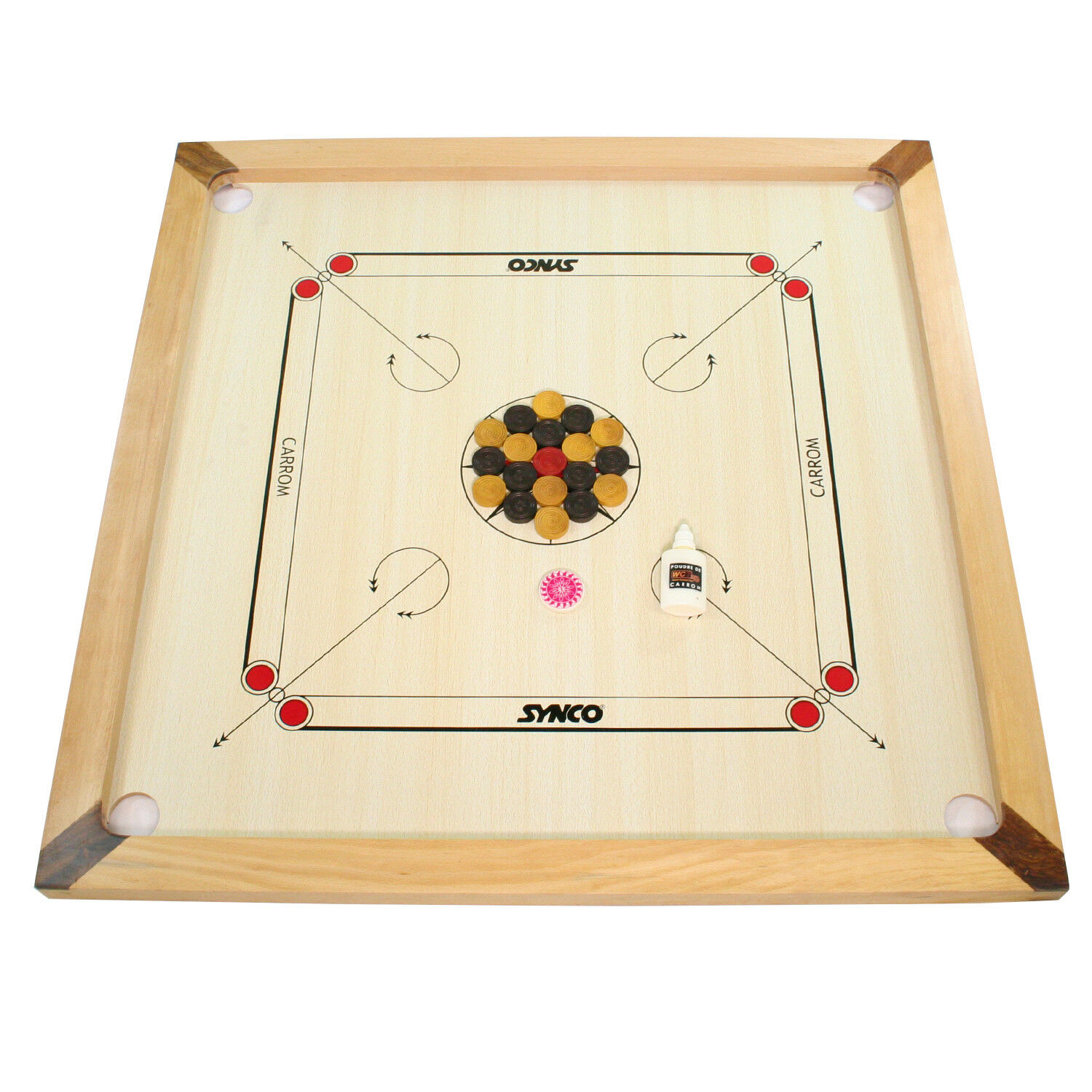 Carrom Set with 26  x 26  Synco Carrom Board - Mango and pinkwood frame