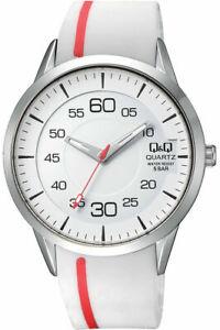 Q-amp-Q-by-Citizen-Herren-Armbanduhr-Uhr-Watch-45-mm-Weiss-5-ATM-Silikonband-Miyota