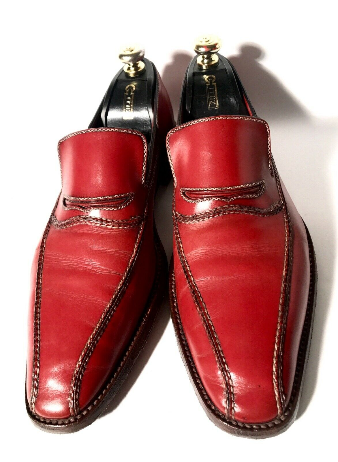 2900 Amadeo Testoni Rouge-Brun Chaussures Cuir Taille 44, UK-10, US-11