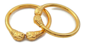 18K-GOLD-PLATED-TRADITIONAL-LION-BANGLE-SET-WOMEN-BRACELET-SOUTH-INDIAN-JEWELRY