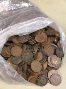 950G-Misti-British-RAME-e-BRONZO-MONETE-pochi-centesimi-Half-Penny-E-Mezzo-Pence