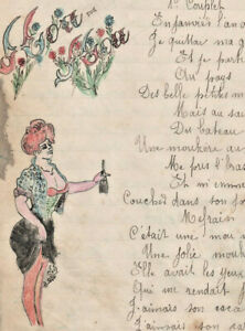 1906-military-soldier-manuscript-lyrics-SHE-WAS-HOT-sexy-drawing
