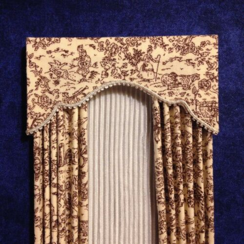 Sheers Tiny Toile de jouy Dollhouse Curtains Brown /& Cream w// Cream Satiny Semi